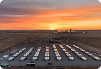 Drone photography of Hut 8 Mining Facility at sunset in Drumheller, Alberta